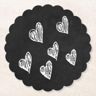 Black & White Hearts Chalkboard Love Paper Coaster
