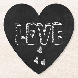 Black & White Hearts Chalkboard Love - Wedding Paper Coaster