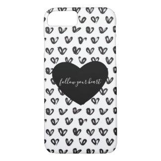 Black White Hearts iPhone 8/7 Case