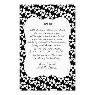 Black White Hearts Wedding Poem Thank You Scroll 14 Cm X 21.5 Cm Flyer