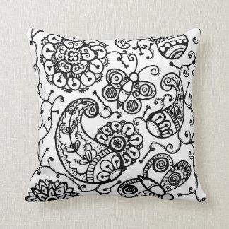Black & white henna paisley floral throw cushion