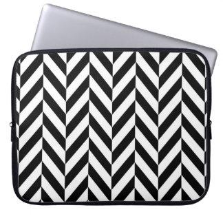 Black & White Herringbone Design, Laptop Sleeve