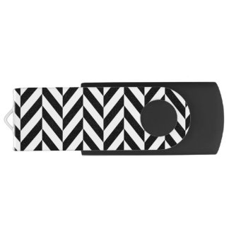 Black & White Herringbone Design, USB Flash Drive