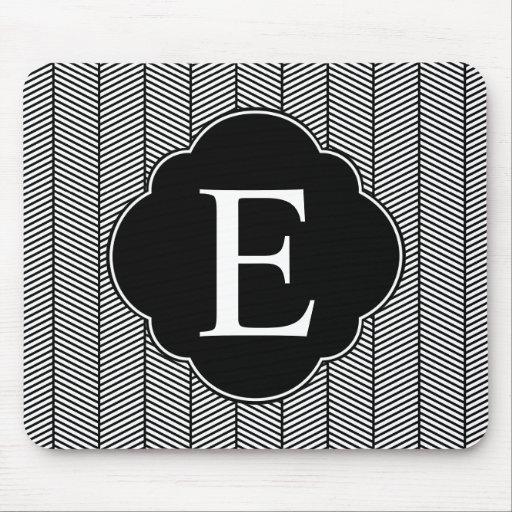 Black White Herringbone Monogram Mouse Pad