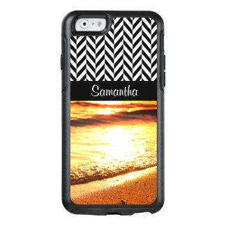 Black & White Herringbone - Sunset Beach Waves - OtterBox iPhone 6/6s Case