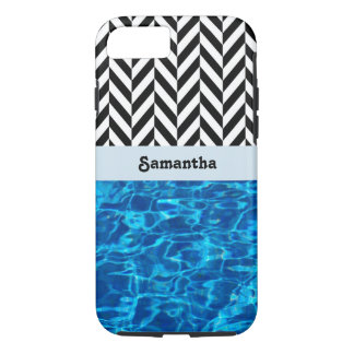 Black & White Herringbone with Abstract Blue - iPhone 7 Case