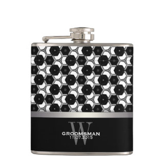 Black White Hexagon Pattern Groomsmen Hip Flask