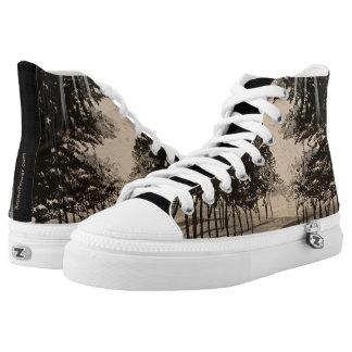 Black & White - HiTop Printed Shoes