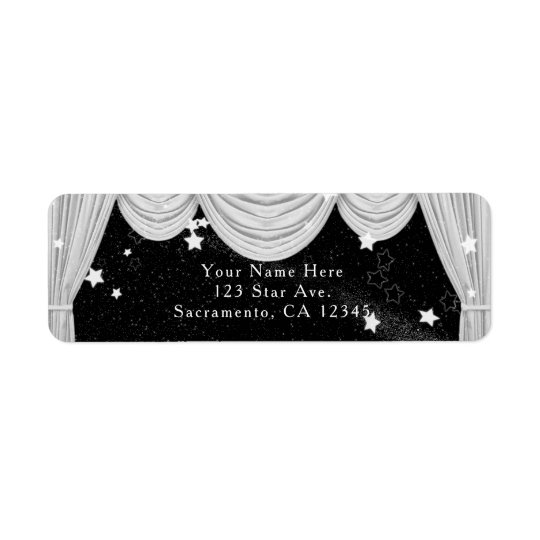 Black & White HOLLYWOOD Curtains Invitation Return Address Label