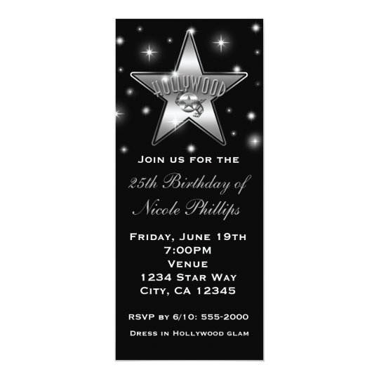 Black & White Hollywood Star Vintage Invitation