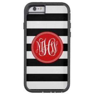 Black White Horiz Stripe #3 Red Vine Monogram Tough Xtreme iPhone 6 Case