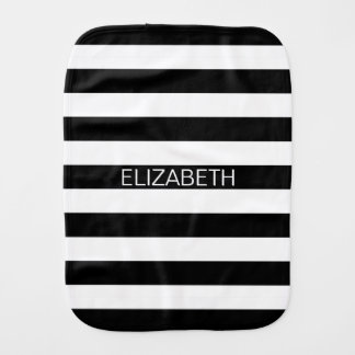 Black White Horizontal Preppy Stripe Name Monogram Baby Burp Cloth