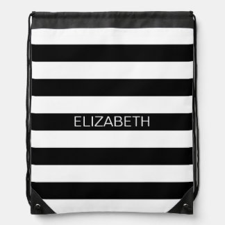 Black White Horizontal Preppy Stripe Name Monogram Drawstring Bag