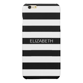 Black White Horizontal Preppy Stripe Name Monogram iPhone 6 Plus Case