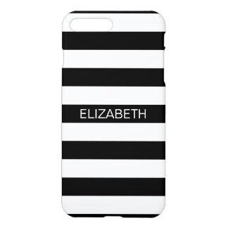Black White Horizontal Preppy Stripe Name Monogram iPhone 7 Plus Case