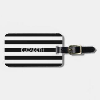Black White Horizontal Preppy Stripe Name Monogram Luggage Tag