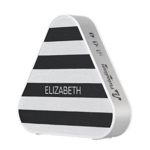 Black White Horizontal Preppy Stripe Name Monogram Speaker