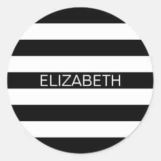 Black White Horizontal Preppy Stripe Name Monogram Round Sticker