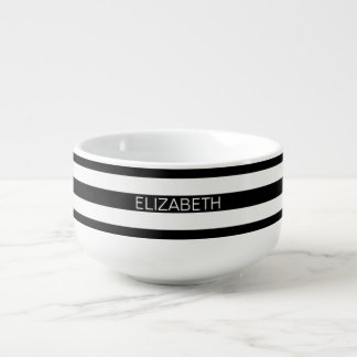 Black White Horizontal Preppy Stripe Name Monogram Soup Mug