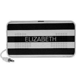 Black White Horizontal Preppy Stripe Name Monogram Portable Speakers