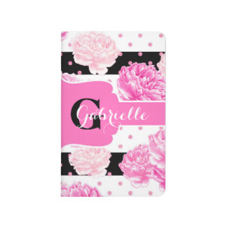 Black & White Horizontal Stripes Floral Monogram Journal