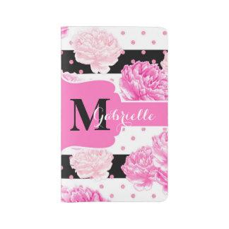Black & White Horizontal Stripes Floral Monogram Large Moleskine Notebook