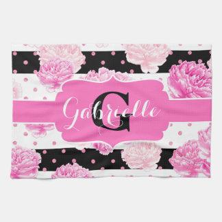 Black & White Horizontal Stripes Floral Monogram Tea Towel
