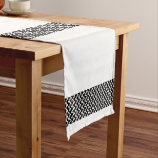 Black & White Horizontal Stripes Short Table Runner