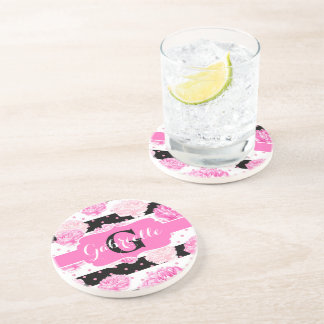 Black & White Horizontal Stripes Watercolor Floral Drink Coasters