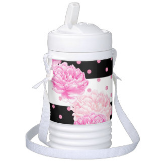 Black & White Horizontal Stripes Watercolor Floral Drinks Cooler