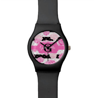 Black & White Horizontal Stripes Watercolor Floral Watch