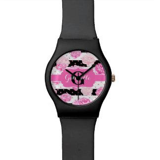 Black & White Horizontal Stripes Watercolor Floral Wrist Watches