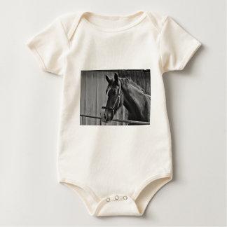 Black White Horse - Animal Photography Art Baby Bodysuit