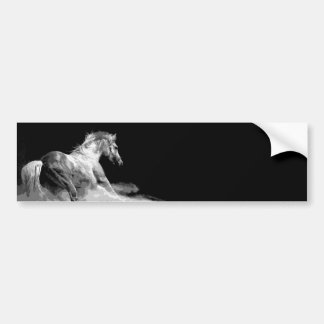 Black & White Horse in Action Car Bumper Sticker
