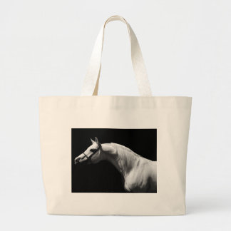 Black & White Horse Large Tote Bag