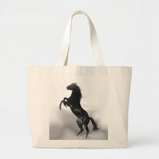 Black White Horse Large Tote Bag