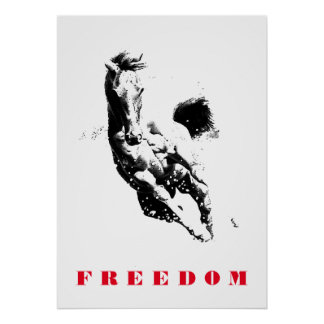 Black White Horse Motivational Freedom Pop Art Poster