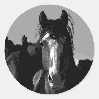 Black & White Horse Portrait Round Sticker