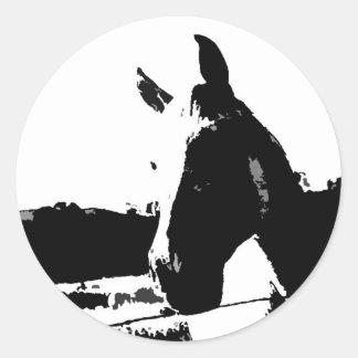 Black & White Horse Round Sticker