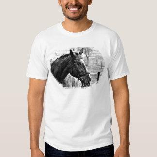 Black White Horse Sketch Tshirts