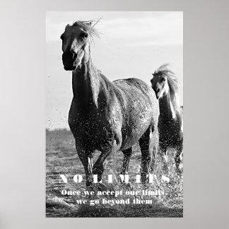 Black White Horses Motivational No Limits Artwork Poster