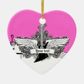 Black white hot pink electric guitar with wings christmas ornament