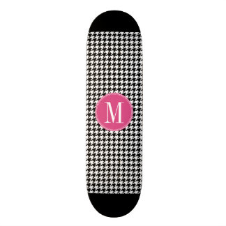 Black White Hot Pink Houndstooth Pattern Monogram 19.7 Cm Skateboard Deck