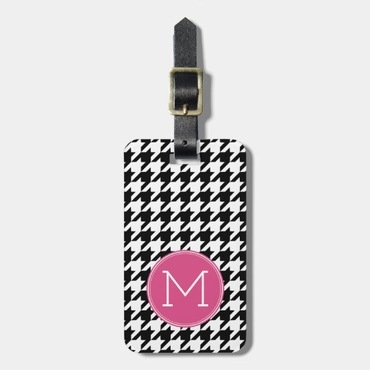 Black White Hot Pink Houndstooth Pattern Monogram Luggage