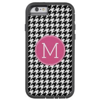 Black White Hot Pink Houndstooth Pattern Monogram Tough Xtreme iPhone 6 Case