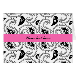 Black, White, Hot Pink Paisley Pattern Card