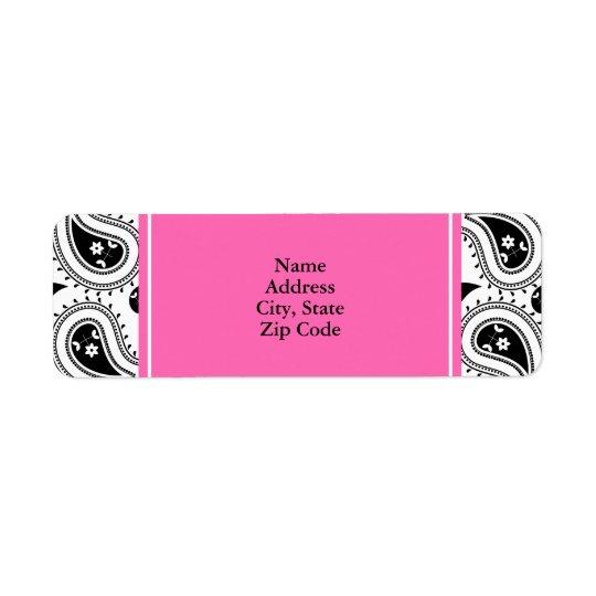 Black, White, Hot Pink Paisley Pattern Return Address Label