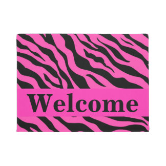 Black White Hot Pink Zebra Skin Pattern Welcome Doormat