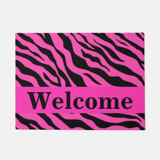 Black White Hot Pink Zebra Skin Pattern Welcome