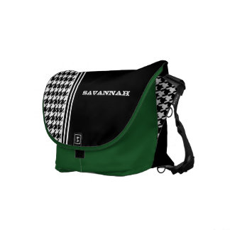 Black & White Hounds Tooth Racing Stripe Messenger Courier Bag